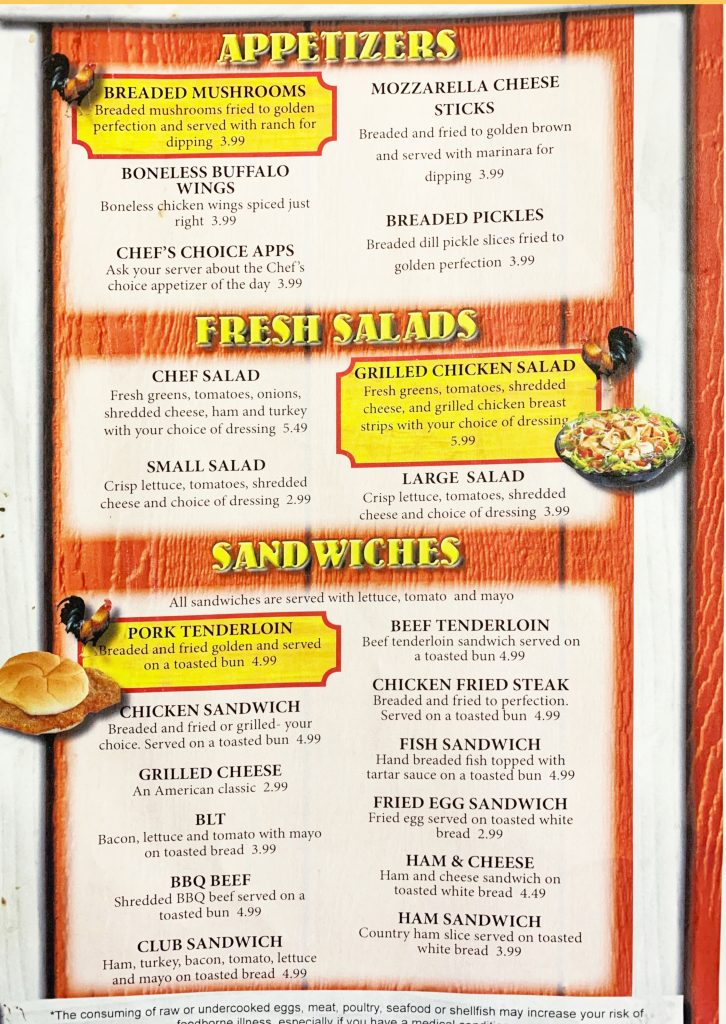 Ozark Cafe Menu